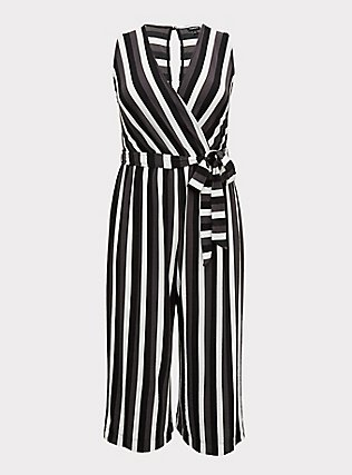 Plus Size Grey Stripe Textured Self-Tie Culotte Jumpsuit, STRIPE - WHITE, flat
