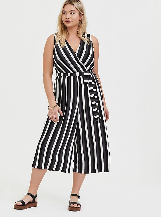 Plus Size Grey Stripe Textured Self Tie Culotte Jumpsuit, STRIPE - WHITE, hi-res