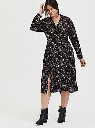 Plus Size Black & Pink Leopard Heart Challis M-Slit Midi Dress, HEARTS - BLACK, hi-res