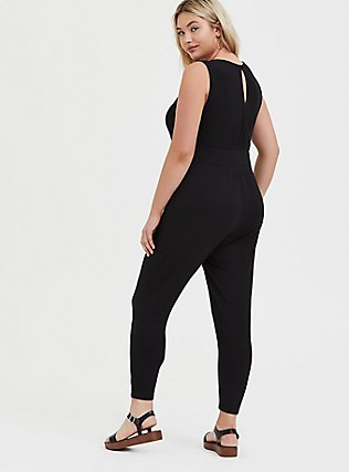 Plus Size Black Rib Lace-Up Jumpsuit, DEEP BLACK, alternate