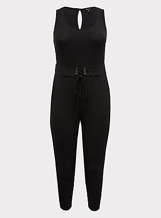 Plus Size Black Rib Lace-Up Jumpsuit, DEEP BLACK, flat