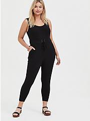 Black Rib Lace-Up Jumpsuit, DEEP BLACK, hi-res