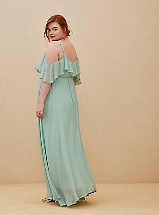 Special Occasion Mint Green Chiffon Cold Shoulder Formal Gown, GREEN, alternate