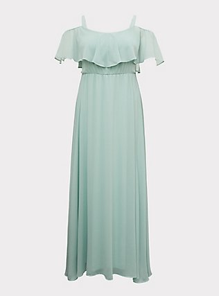 Special Occasion Mint Green Chiffon Cold Shoulder Formal Gown, GREEN, flat
