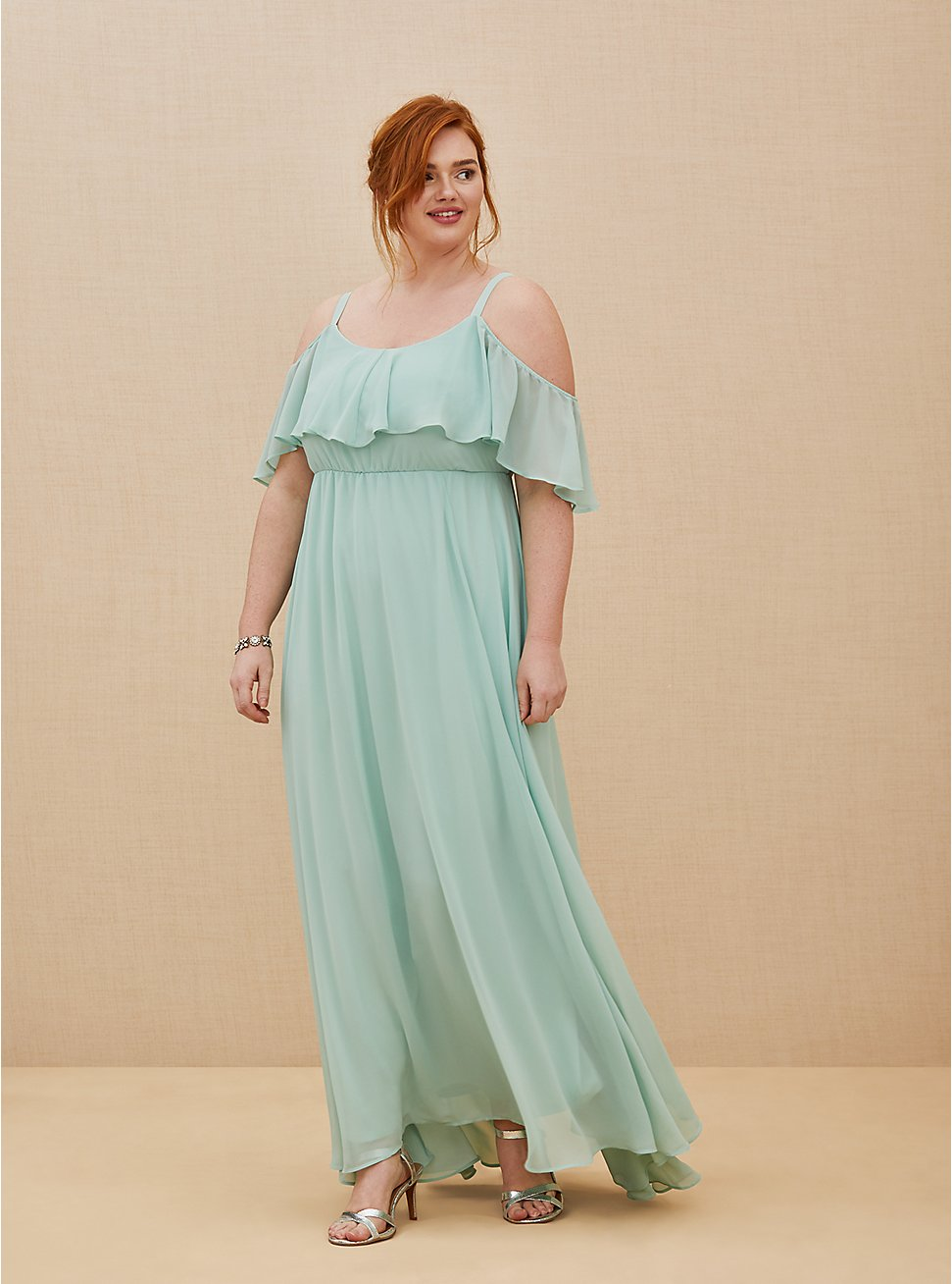 Special Occasion Mint Blue Chiffon Cold Shoulder Formal Gown, GREEN, hi-res