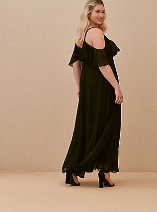 Plus Size Special Occasion Black Chiffon Cold Shoulder Formal Gown, DEEP BLACK, alternate