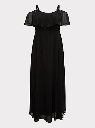 Special Occasion Black Chiffon Cold Shoulder Formal Gown, DEEP BLACK, flat