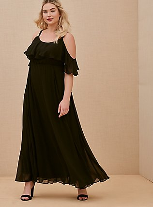 Special Occasion Black Chiffon Cold Shoulder Formal Gown, DEEP BLACK, hi-res
