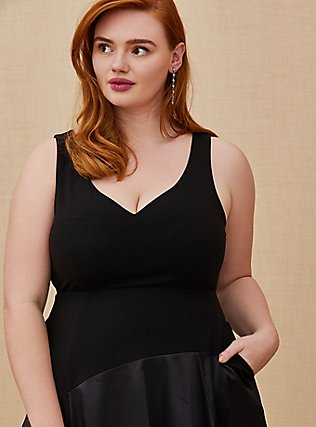 Plus Size Special Occasion Black Scuba Knit & Satin Hi-Lo Gown, DEEP BLACK, alternate