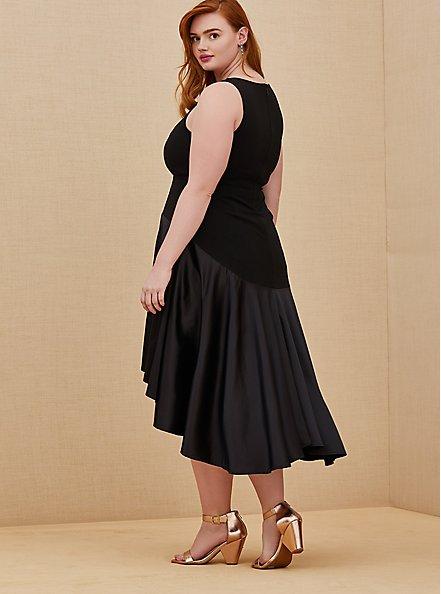 Special Occasion Black Scuba Knit & Satin Hi-Lo Gown, DEEP BLACK, alternate