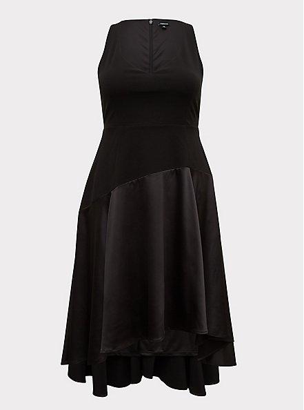 Special Occasion Black Scuba Knit & Satin Hi-Lo Gown, DEEP BLACK, hi-res