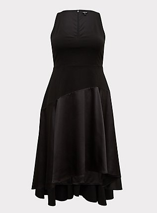 Special Occasion Black Scuba Knit & Satin Hi-Lo Gown, DEEP BLACK, flat