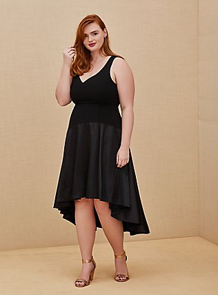 Plus Size Special Occasion Black Scuba Knit & Satin Hi-Lo Gown, DEEP BLACK, hi-res