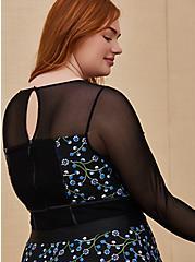 Plus Size Special Occasions Black Mesh & Blue Embroidered Skater Dress , DEEP BLACK, alternate