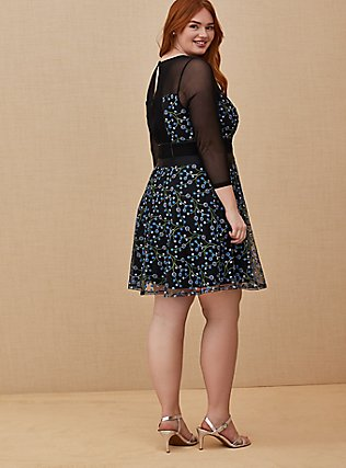 Plus Size Special Occasions Black Mesh & Blue Embroidered Skater Dress , DEEP BLACK, alternate