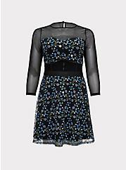 Plus Size Special Occasions Black Mesh & Blue Embroidered Skater Dress , DEEP BLACK, hi-res