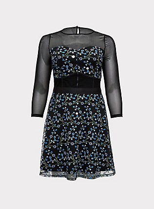 Special Occasions Black Mesh & Blue Embroidered Skater Dress , DEEP BLACK, flat