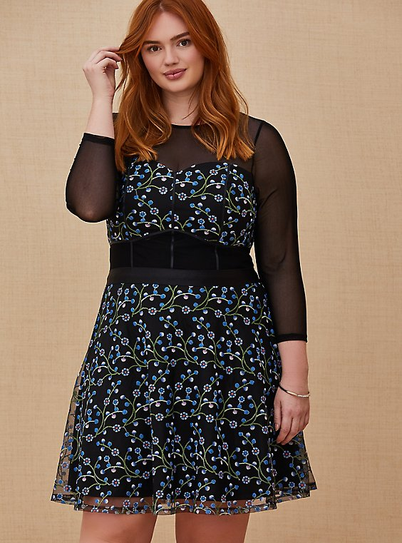 Plus Size Special Occasions Black Mesh & Blue Embroidered Skater Dress , , hi-res