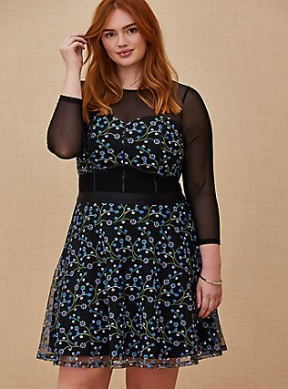 Plus Size Special Occasions Black Mesh & Blue Embroidered Skater Dress , DEEP BLACK, hi-res