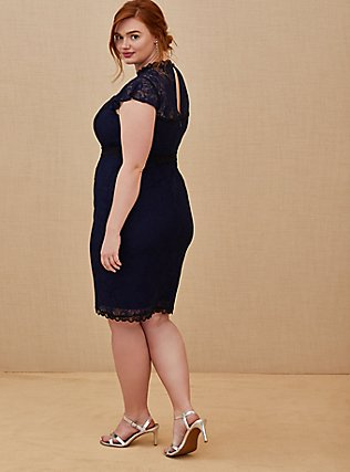 Plus Size Special Occasion Navy Lace Shift Dress, PEACOAT, alternate