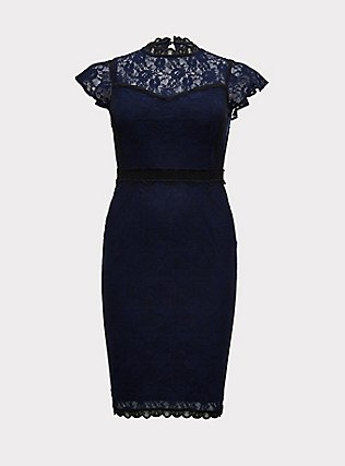 Plus Size Special Occasion Navy Lace Shift Dress, PEACOAT, flat