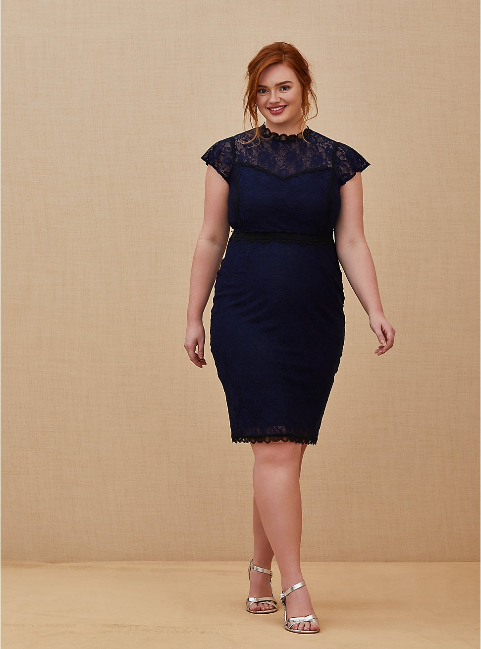 Special Occasion Navy Lace Shift Dress, PEACOAT, hi-res