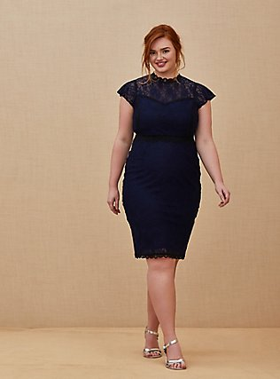 Plus Size Special Occasion Navy Lace Shift Dress, PEACOAT, hi-res