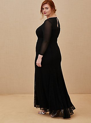 Plus Size Special Occasion Black Lace & Mesh Illusion Mermaid Formal Gown, DEEP BLACK, alternate