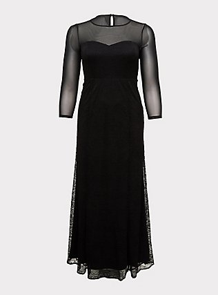 Special Occasion Black Lace & Mesh Illusion Mermaid Formal Gown, DEEP BLACK, flat