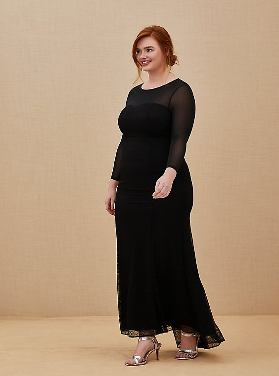Plus Size Special Occasion Black Lace & Mesh Illusion Mermaid Formal Gown, , hi-res