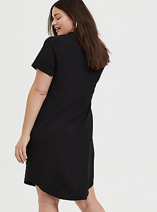 Plus Size Black Crepe Scuba Knit Shift Dress, DEEP BLACK, alternate