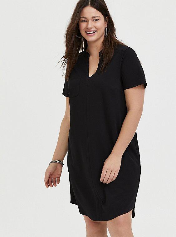 Plus Size Black Crepe Scuba Knit Shift Dress, , hi-res