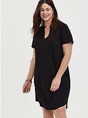 Plus Size Black Crepe Scuba Knit Shift Dress, DEEP BLACK, hi-res