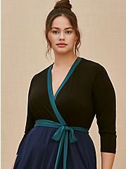 Plus Size Navy Colorblock Studio Knit Surplice Above-the-Knee Wrap Dress, DEEP BLACK, alternate