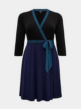 Plus Size Navy Colorblock Studio Knit Surplice Above-the-Knee Wrap Dress, DEEP BLACK, flat