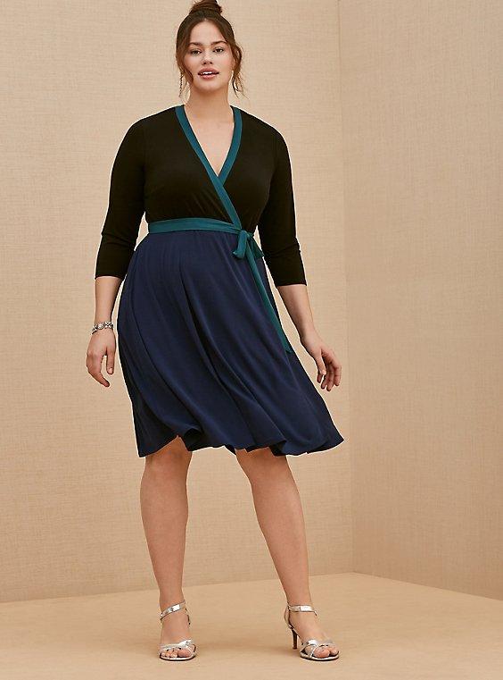 Plus Size Navy Colorblock Studio Knit Surplice Above-the-Knee Wrap Dress, , hi-res