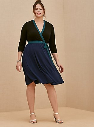 Plus Size Navy Colorblock Studio Knit Surplice Above-the-Knee Wrap Dress, DEEP BLACK, hi-res