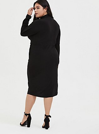 Plus Size Black Studio Knit Button Front Twist Shirt Dress, DEEP BLACK, alternate