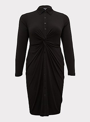 Plus Size Black Studio Knit Button Front Twist Shirt Dress, DEEP BLACK, flat