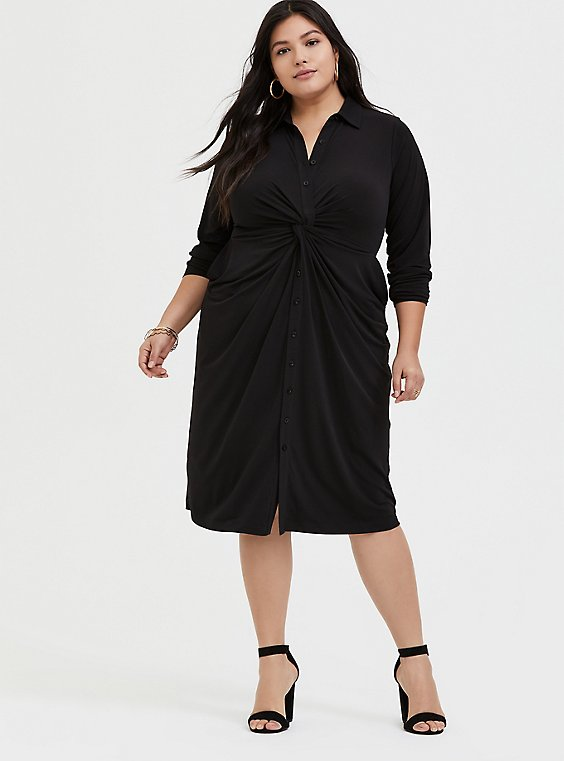 Plus Size Black Studio Knit Button Front Twist Shirt Dress, , hi-res