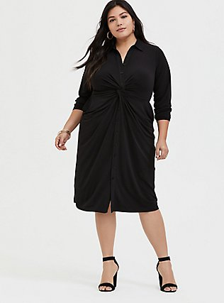 Plus Size Black Studio Knit Button Front Twist Shirt Dress, DEEP BLACK, hi-res