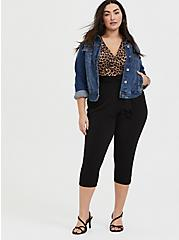 Leopard & Black Surplice Self-Tie Crop Jumpsuit, LEOPARD-BLACK, alternate