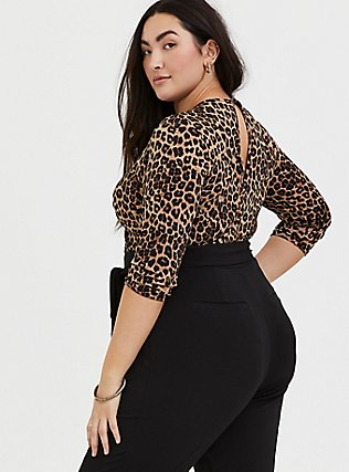 Plus Size Leopard & Black Surplice Self-Tie Crop Jumpsuit, LEOPARD-BLACK, alternate