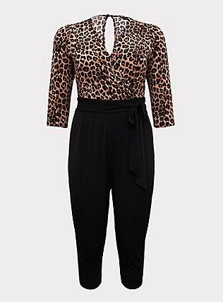 Plus Size Leopard & Black Surplice Self-Tie Crop Jumpsuit, LEOPARD-BLACK, flat