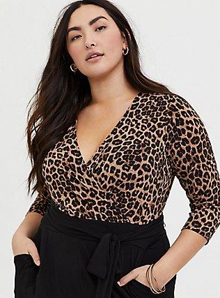 Plus Size Leopard & Black Surplice Self-Tie Crop Jumpsuit, LEOPARD-BLACK, hi-res