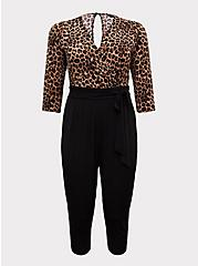 Leopard & Black Surplice Self-Tie Crop Jumpsuit, LEOPARD-BLACK, hi-res
