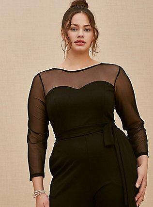Plus Size Black Premium Ponte & Mesh Illusion Neck Crop Jumpsuit, DEEP BLACK, alternate