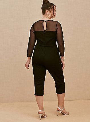 Plus Size Black Premium Ponte & Mesh Illusion Neck Crop Jumpsuit, DEEP BLACK, alternate