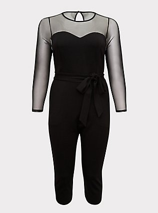 Plus Size Black Premium Ponte & Mesh Illusion Neck Crop Jumpsuit, DEEP BLACK, flat