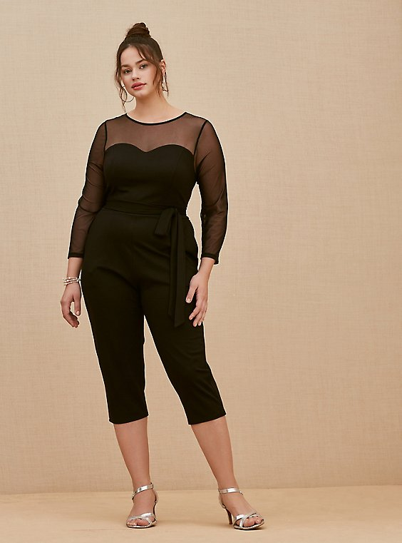 Plus Size Black Premium Ponte & Mesh Illusion Neck Crop Jumpsuit, , hi-res